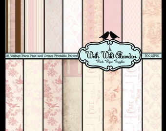 Pink and Cream Vintage Paris Digital Scrapbook Paper 16 Sheets  - Toile, Damask, Argyle, Floral and Birds 12x12 Instant Download