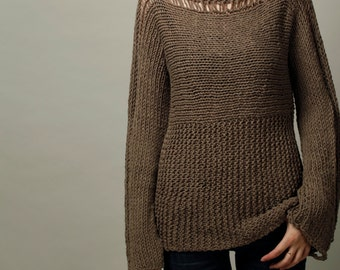 Hand Knit Woman Sweater Eco Cotton Sweater Barley