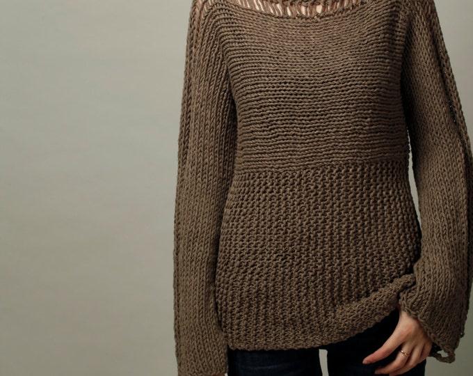 Hand Knit Woman Sweater Eco Cotton Sweater Barley
