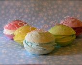 "Fake French Macaroon Ornaments ""Sugar Plum Fairy Collection"" Set of 5 Fab Christmas Tree Decor or Home Decor, Photo Props"