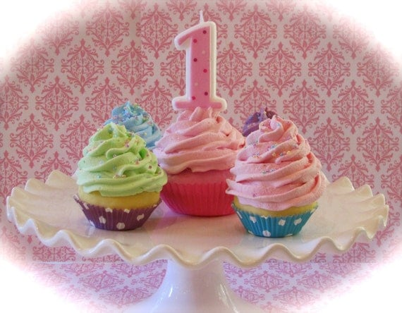 """Fake Cupcakes """"1st Birthday 'Girl' Photo Shoot Cupcake Collection"""" 1 Large Standard Your Choice 4 Mini Cupcakes"""