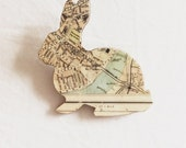 Recycled London Map  Bunny Brooch