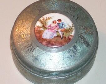 Vintage Powder Tin - Trinket Box - Enamel Painted - Portrait Ceramic -  Romantic Fragonard Flirt Scene