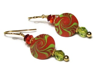 Pierced Earrings Handmade Polymer Clay Swirled Bicone Beads Jewelry Vintage Glass Goldplated Wires