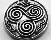 Celtic Trinity Spiral - 1 hole celtic spiral pendant 1 bail Australian Pewter R378