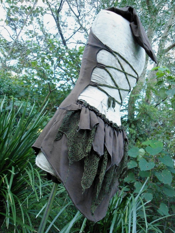 "Gone with the faeries... Organic Cotton Cacao Brown Backless Hoodie Top or Mini dress with "" Leaf "" Green Leafy Lace Bustle..."