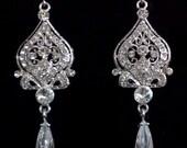 Chandelier Bridal Earrings, Victorian Wedding, Swarovski Crystal Earrings, Cubic Zirconia Teardrop Jewelry, ALLANAH