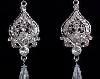Chandelier Bridal Earrings, Silver Wedding Earrings, Victorian Wedding Jewelry, Swarovski Crystal Bridal Jewelry, Cz Drop Earrings, ALLANAH