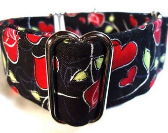 "1.5"" Hearts and Roses Greyhound Martingale Collar"