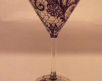 Hand Painted BLACK LACE Martini Glass