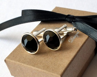 Tuxedo Cuff Links - Vintage Swarovski Jet Black Round Swarovski Crystal on a Silver or Gold Cuff Link