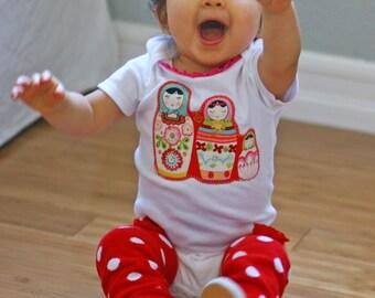 Nesting Dolls MATRYOSHKA Trio Baby Girls Bodysuit 0-18 Months