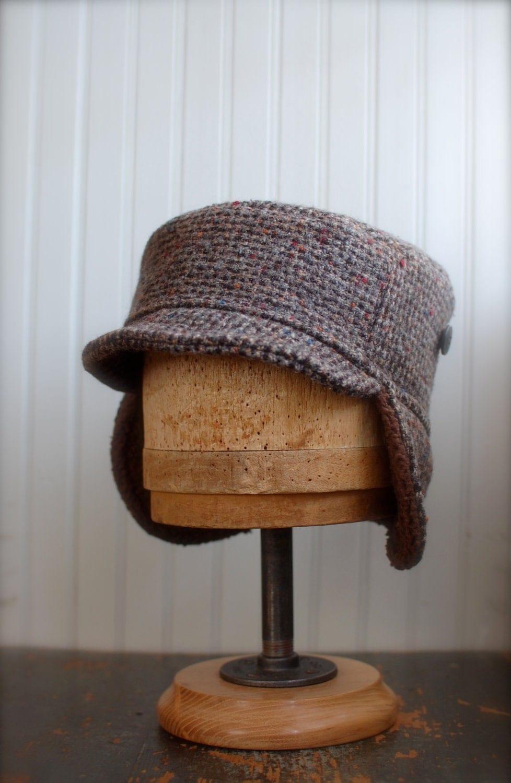 tweed winter hat with earflaps mens ear flap hat womens ear