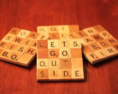 Scrabble Coasters with Recycled Wood Scrabble Tiles And Sturdy Game Board Backing Set Of Four GREAT OUTDOORS