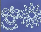 Hand Tatted Angel snowflake set in baby blue