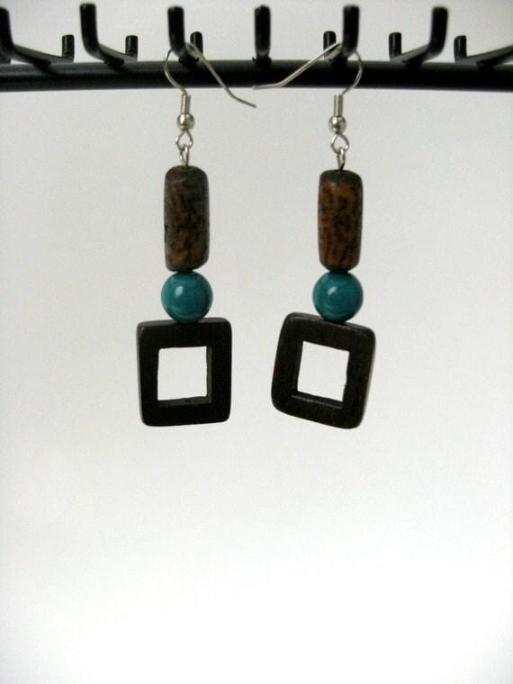 Natural wood square dangle Earrings