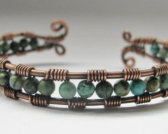 Copper and African Turquoise Wire Wrapped Cuff Bracelet