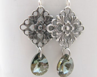 Daintly Little Antique Silver Filigree Diamonds with Swarovski Bronze Shade Teardrops