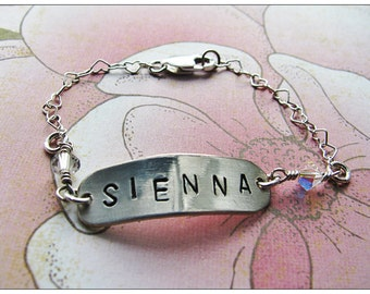 Baby or Little Girl Silver Name Bracelet with Swarovski Birthstone Accent