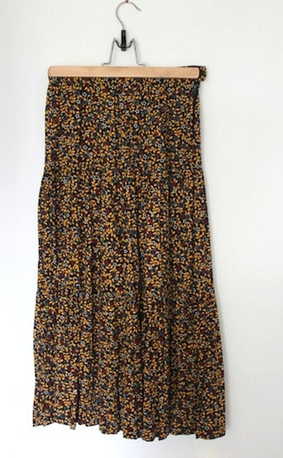 Floral Tiered 70s Maxi Skirt by Nicole Miller for PJ Walsh