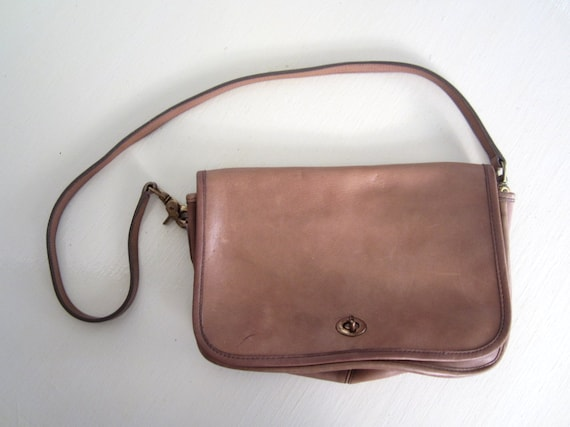 RESERVED Vintage Coach Bag / 1970s 1980s / Tan Leather Purse / Coach Classic Purse RESERVED