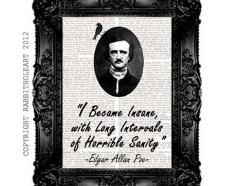 poe portrait edgar allan poe art print portrait and quote insane on upcycled vintage dictionary text book page