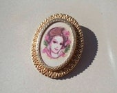 Gold Cameo woman face brooch vintage