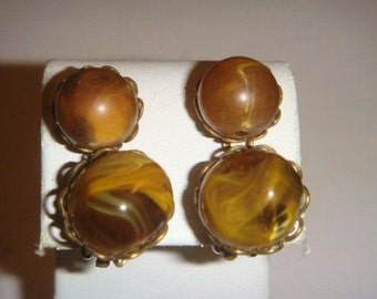 Vintage Gold earrings with Brown Swirl Stones CLIP ON