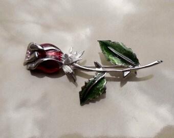 Vintage liz claiborne rose brooch with pink rhinestones