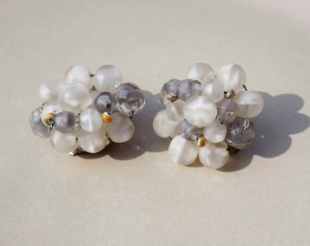 Vintage West Germany White and Gray Clip on Earrings