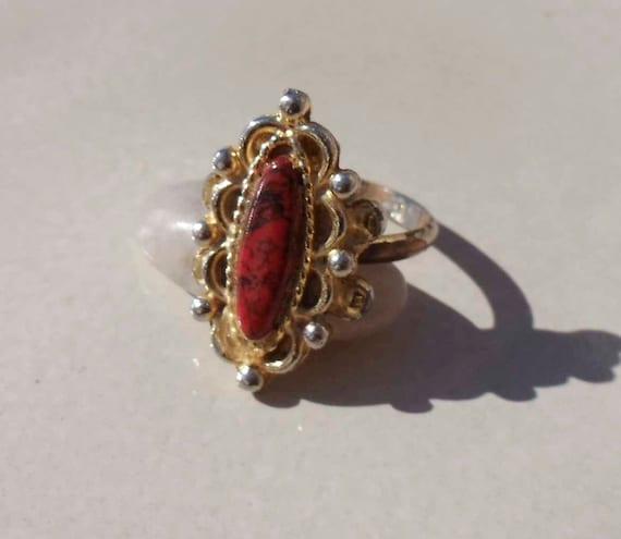 Red Obsidian Gold Ring adjustable Vintage