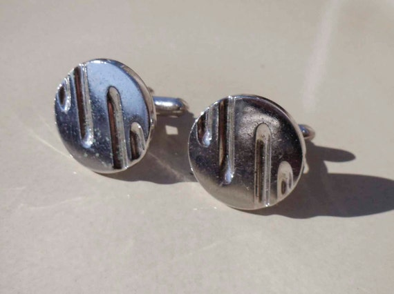 Men's Silver Cufflinks Vintage Circle