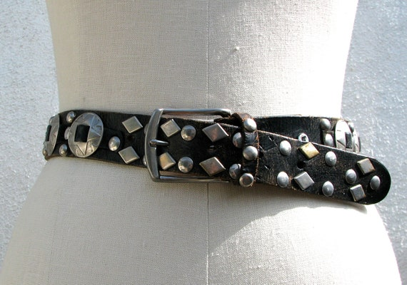 Reserved for 1733fang   1980s Black Leather Biker Belt, Heavy Metal, Silver Stars