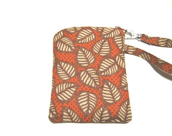 Autumn Leaves handmade fabric cell phone mobile phone gadget case wristlet