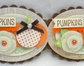 SALE - Sweet Thanksgiving Embellishments. - Set of 2 - PUMPKINS