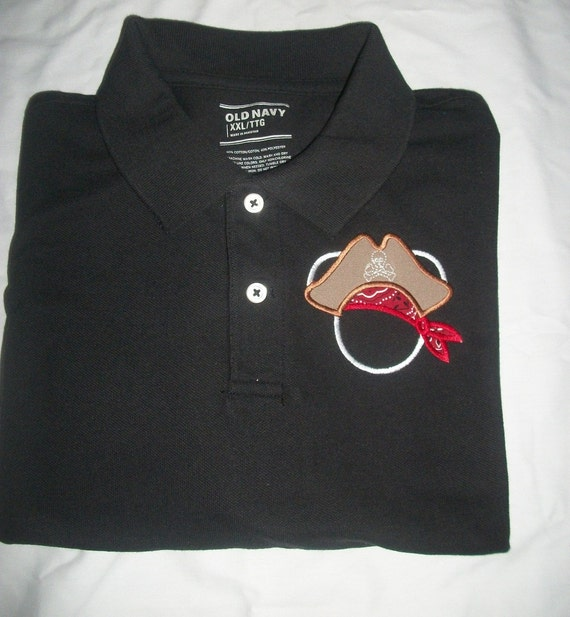 Disney Cruise Pirate Polo  Shirt Adult Black