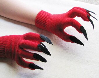 Gloves with claws, red and black, for Halloween costume or pretend play, one size stretch glove