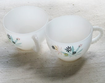 Vintage milk glass cup and plate breakfast set for 2 by Federal Glass Company, Atomic Flower pattern
