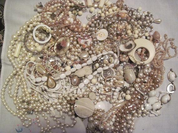 White Shell MOP Pearl  Ivory Tone Destash Jewelry Craft Lot