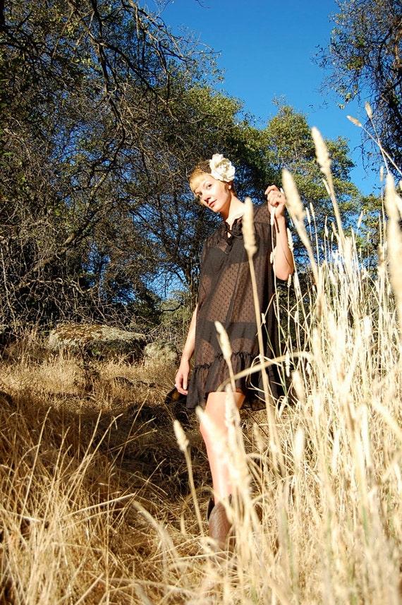 Black Mod Dress Vintage Black Swiss Dot Sheer Preppy Mod Tent Mini Dress  (s m)