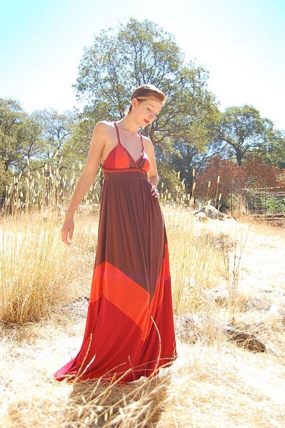 Maxi Dress Vintage 70s Indian Summer Color Block Chevron Empire Maxi Dress (s)