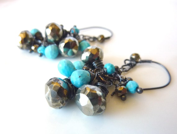 Pyrite and Turquoise Oxidized Sterling Earrings - One of a Kind