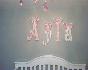 Decorative Wall Letters-glittery sparkly-pink and gray personalized