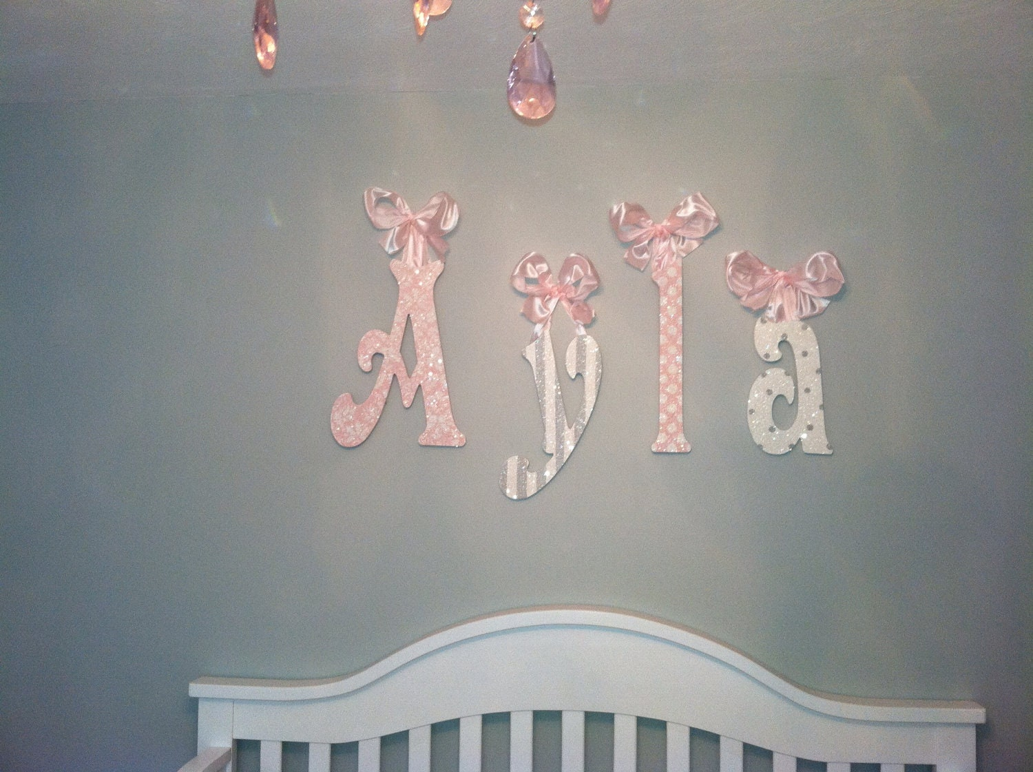 Wall Letter Decor decorative wall letters-glittery sparkly-pink and gray
