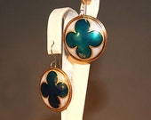 Blue and White Nugold Brass Rosette Earrings