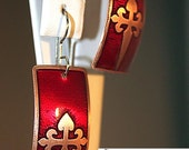 Ruby red and copper St. James Cross earrings