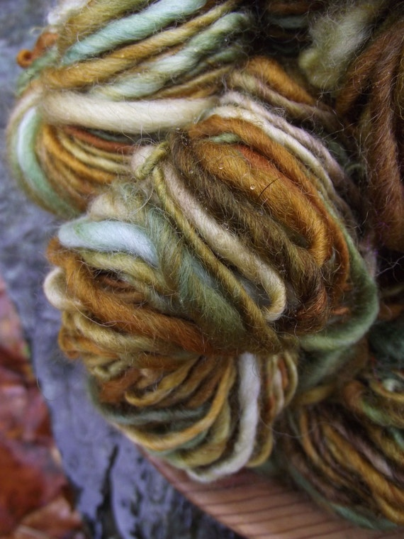 Handspun yarn,  Handpainted BFL wool yarn, worsted thick and thin, multiple skeins available-Farm Fresh