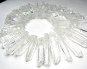 Icicle White Quartz Gemstone, Top Drilled Daggers, 38-61mm. Semi Precious Gemstone.Your Choice. (13QZi). Last Ones