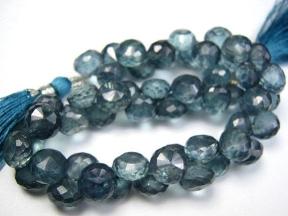 Mystic Paraiba Quartz Gemstone. Faceted  Blue Onion Briolette, 8mm.   Semi Prescious Gemstone. One Pair.  (LQB) Last ones