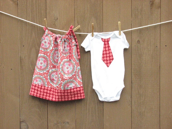Brother Sister Matching .MADISON. Dress and Tie T-shirt or Onesie. Picture Perfect Coordinating Set.  Many Sizes Available.